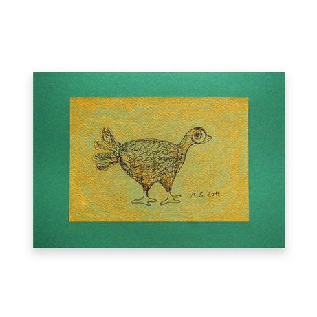 zielony obrazek,ptak obrzek,rysunek zielony,ptaszek szkic rustykalny