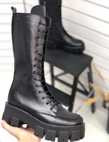 Женские сапоги демисезонные кожаные/ Сапоги высокие на шнуровке