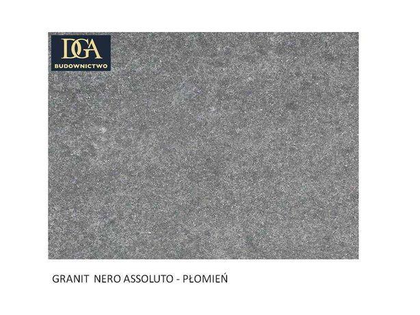 PARAPETY, stopnie, schody, - 180x30x3cm z granitu NERO ASSOLUTO. płom.