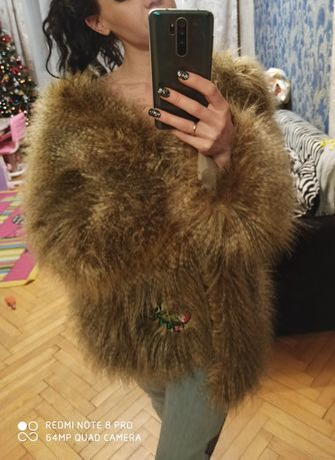 Шуба дизайнерская куртка парка Elena Burba S-M Лама Экомех