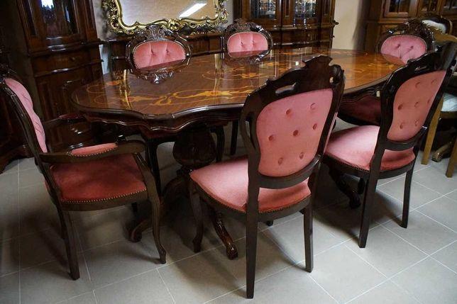 Włoski Stylowy Zestaw Stół + 6 krzeseł (8-10 osób) Zapraszam:)