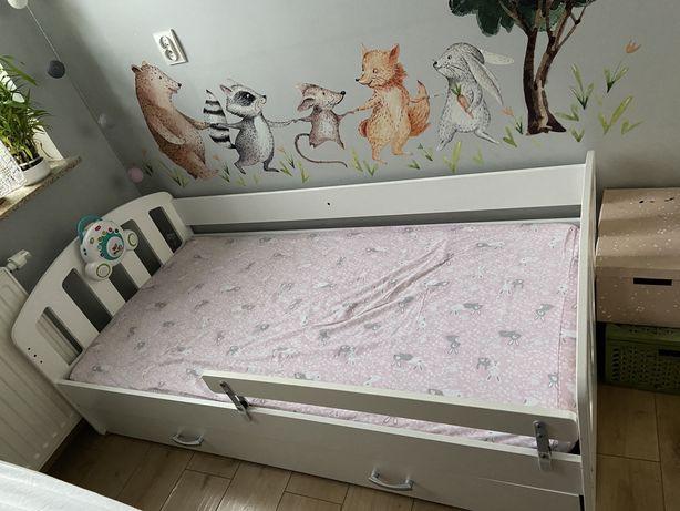 Łóżeczko dziecięce 160x80 drewniane białe materac szuflada łóżko