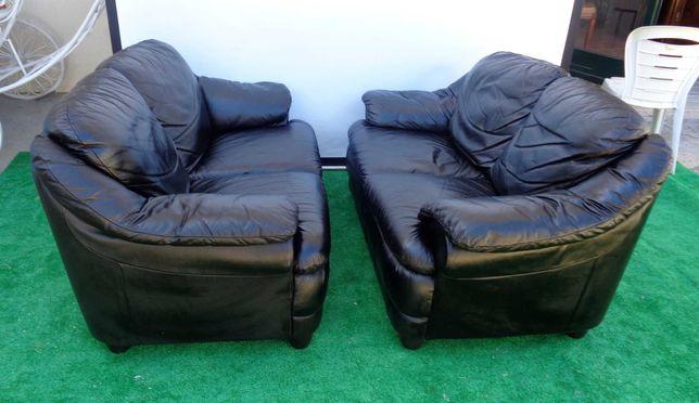 Dois sofás em pele de cor preta