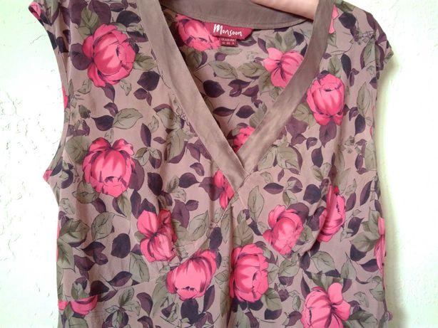 MonSoon Летняя блузка Шелковая майка в цветочный принт маечка