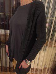 Sweter grafit srebrna nitka M-XL blezer szary narzutka kardigan
