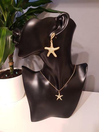 Komplet biżuterii letnie kolczyki naszyjnik złote rozgwiazdy