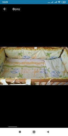 Защита, балдахин для детской кроватки + постельное белье, подушка, оде