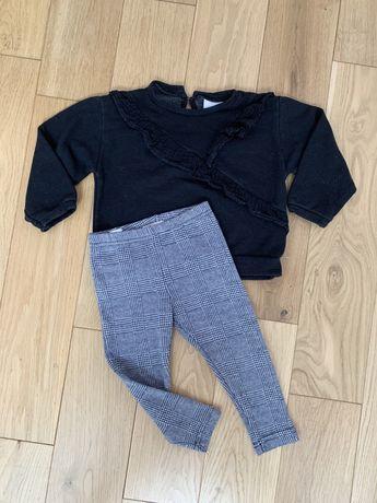 Zara Mango r. 92 bluza czarna z koronka spodnie legginsy kratkę pepitk