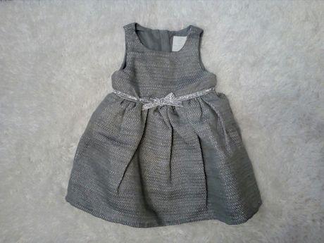Sukienka elegancka szara srebrna nitka coolclub 74