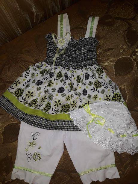 Нарядный, лёгкий, костюм + панамка в подарок на девочку 3-4лет,Турция