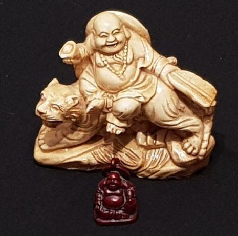 Игрушки статуэтки Будды Хотея на тигре Нэцкэ женщина с ребенком
