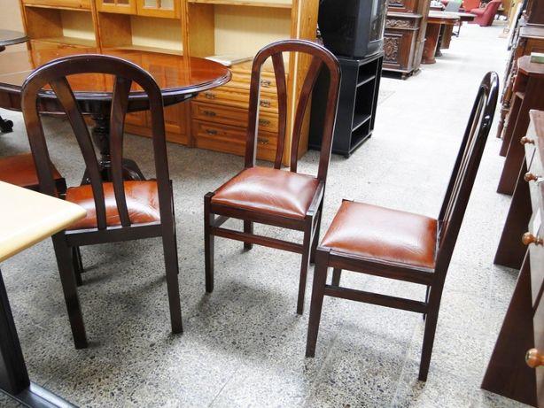 Cadeiras em madeira maciça e pele - ótimo estado - Valor unitário