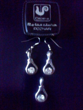 Komplet biżuterii Cepelia + pierścień kryształ