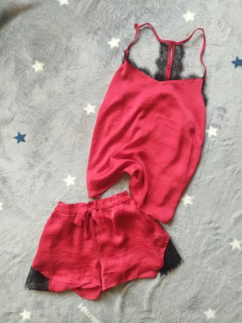 Пижама шорты майка пеньюар костюм