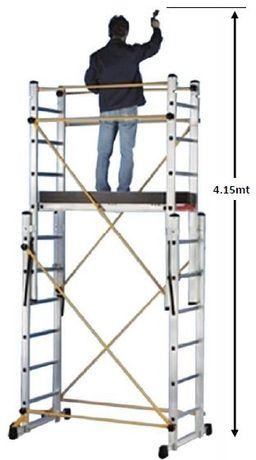 Andaime Escadas Aluminio Certificado Multiposições 4.15Mts