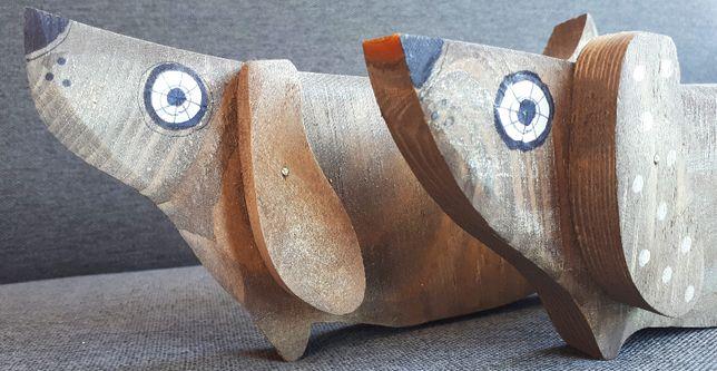 Pies Jamnik malowany na drewnie Upominek Prezent Dzień Matki Dekoracja