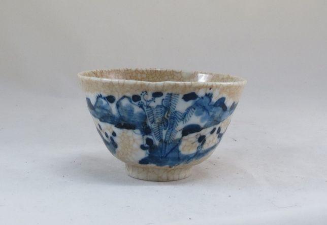 Tigela Taça Porcelana Chinesa dec Azul e Branco fundo Castanho; 11cm