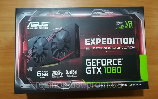 Asus PCI-Ex GeForce GTX 1060 Expedition OC 6GB GD ПЛОМБА!