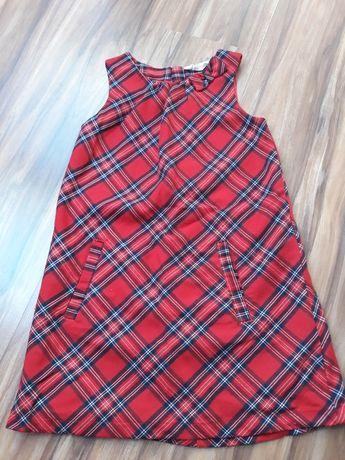 sukienka czerwona kratka świąteczna  rozm 134 cm H&M