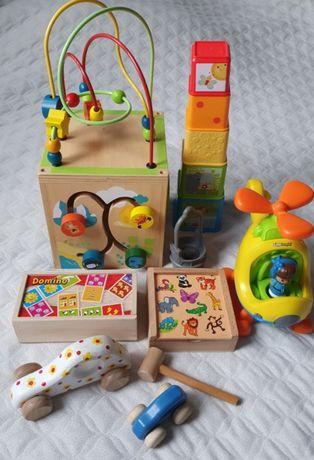 Zabawki dla małego chłopca, drewniane, Fisher Price 6 sztuk!!