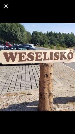 Rustykalne wesele - Drogowskaz, napis WESELISKO dwustronny