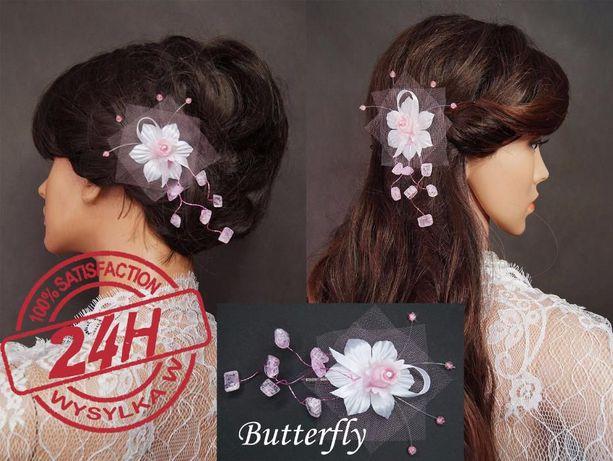 Ozdoba ślubna biała z różowymi dodatkami. HIT CENOWY