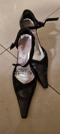 Buty damskie skórzane wysokie obcasy rozm. 36