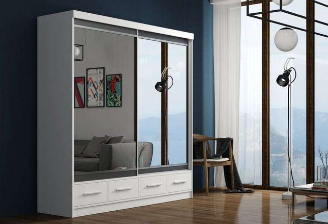 Szafa przesuwna 200 cm garderoba z szufladami z lustrem biała sonoma
