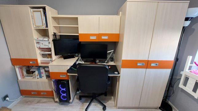 Meblościanka meble do pokoju dla dziecka szafa biurko dużo półek