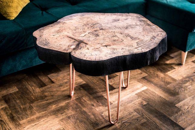 Stolik kawowy z plastra drewna. Unikat.