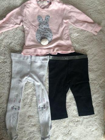 Zestaw jesienny dla dziewczynki H&M rozm 68 bluza spodenki rajstopy
