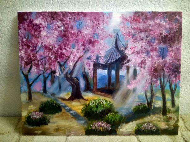 """Картина маслом """"Когда цветет сакура"""""""