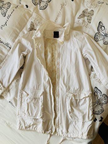 Biały/ ecru płaszczyk