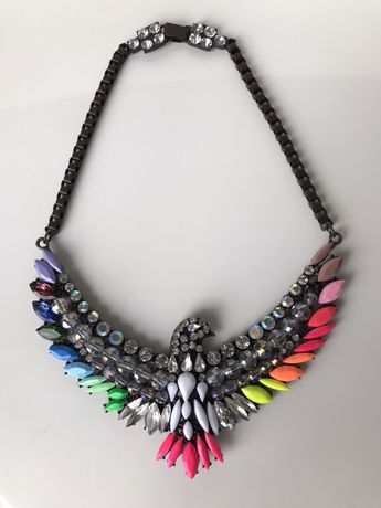Крупное колье ожерелье с цветными камнями орёл