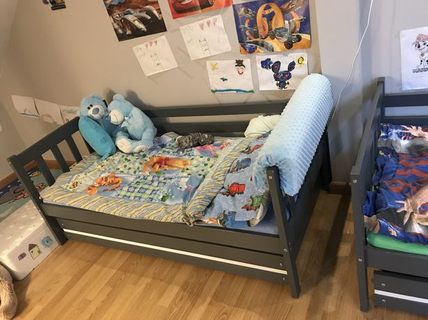 Łóżko, szuflada, szare z zabezpeiczeniem