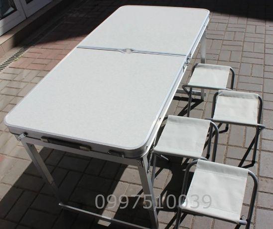 Удобный стол для пикника УСИЛЕННЫЙ + 4 стула. Раскладной столик БЕЛЫЙ