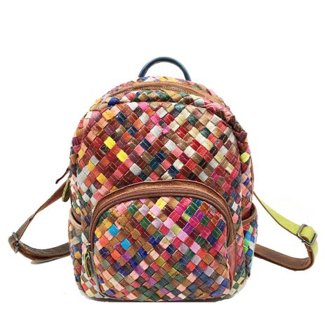 Рюкзак женский кожа барашка плетение.