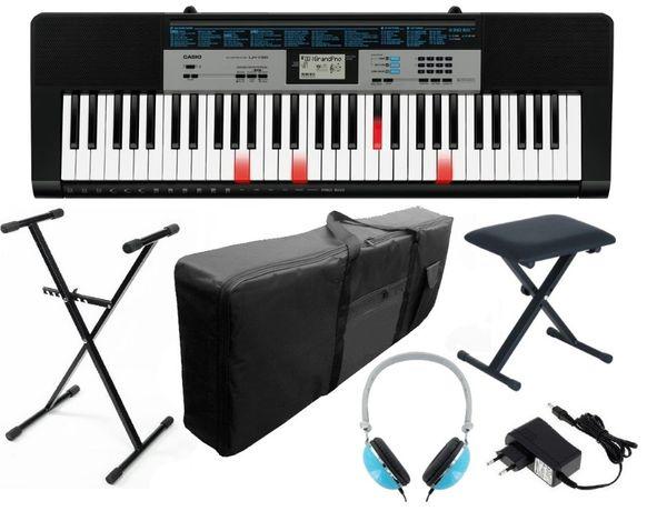 Keyboard Casio LK136 + Statyw Zasilacz Pokrowiec Ława Słuchawki NOWY