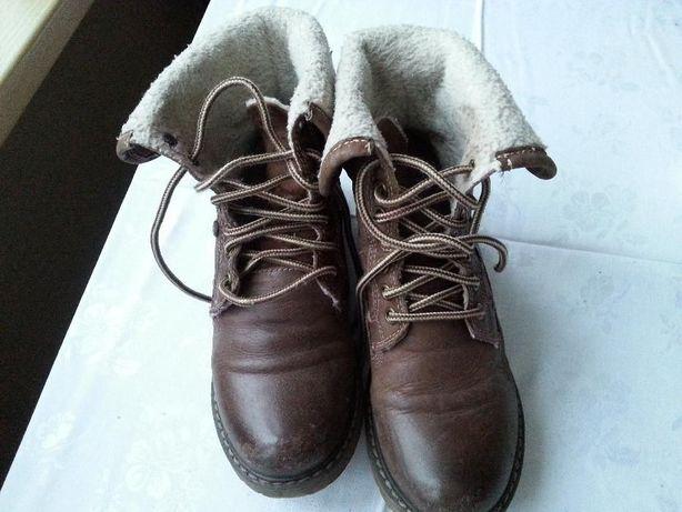 Skórzane buty kozaczki Lasocki brązowe r. 34