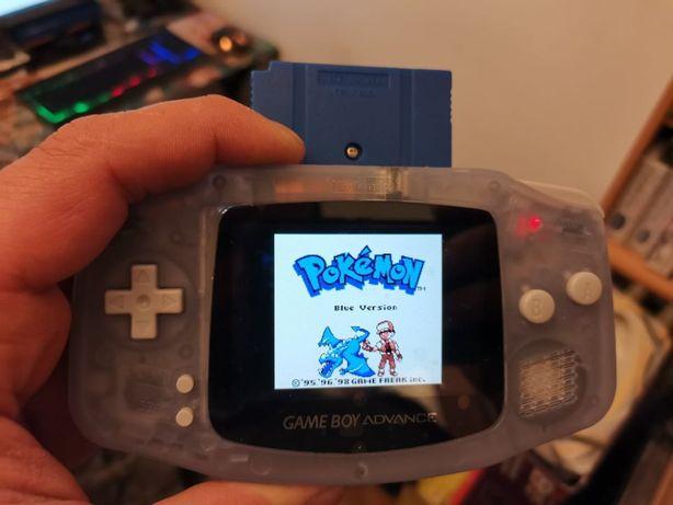 GBA Game boy Advance IPS MOD + pokemon blue + folie + pokrowiec