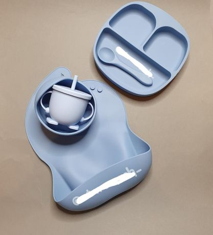 Силиконовый набор посуды, нагрудник, тарелка