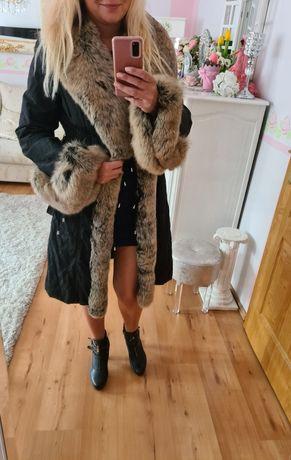 Maria Blaud piękny płaszcz gruby lis 40 L