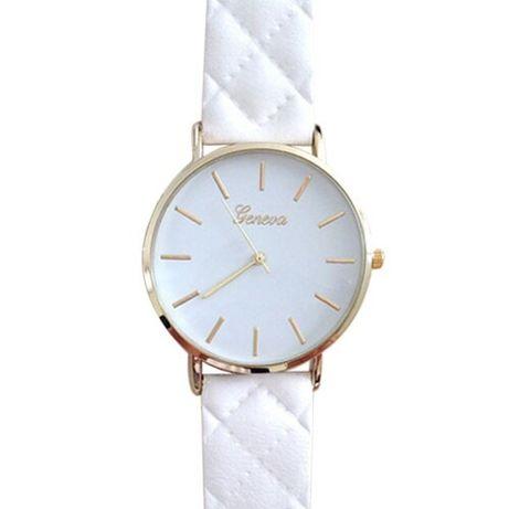 NOWY Zegarek Damski Biały Pikowany Pasek Materiał Geneva OKAZJA