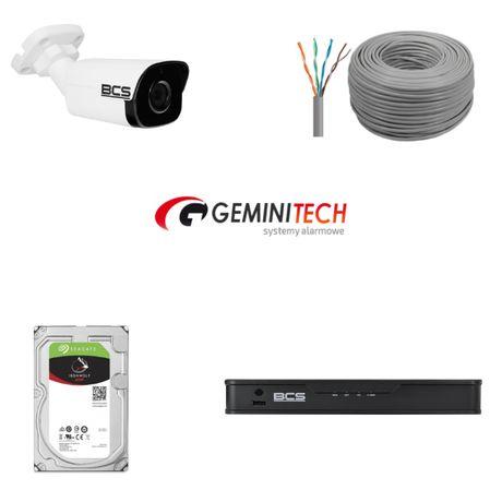 zestaw monitoring 4 kamery IP + Rejestrator z zasilaniem + dysk twardy