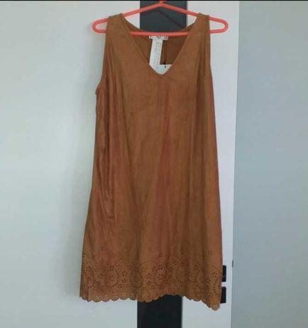 Zamszowa sukienka Mango