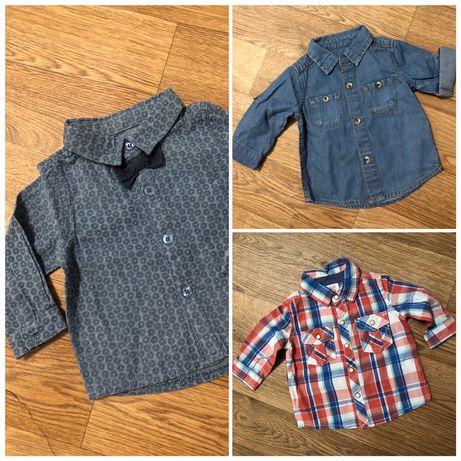 Рубашки на мальчика 0-6 месяцев