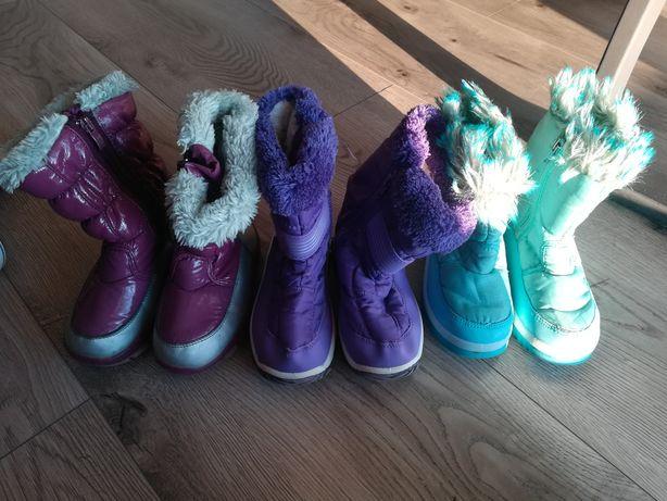 R. 27 zestaw 3 pary butów na zimę dla dziewczynki