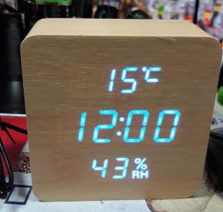 Электронные часы VST в деревянном корпусе с датчиком влажности New
