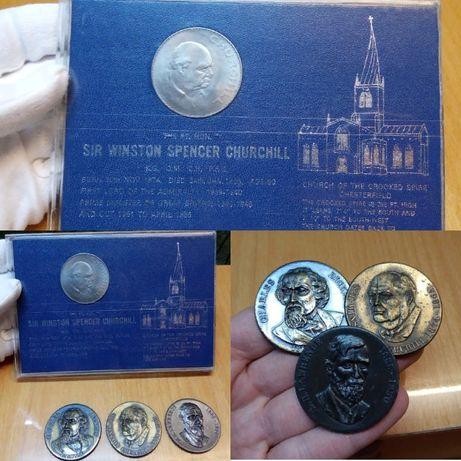 Монеты и медали Черчилля 1 крона 1965 Чарльз Диккенс Дэвид Г. Лоуренс