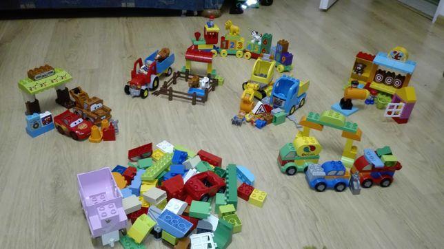 Klocki lego duplo 6 zestaw pociag ,traktor ,koparka strzelnica